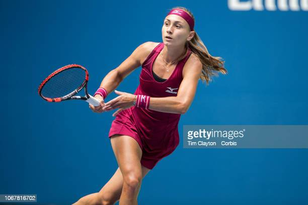 Open Tennis Tournament- Day Six. Aleksandra Krunic of Serbia in action against Madison Keys of the United States in the Women's Singles round three...