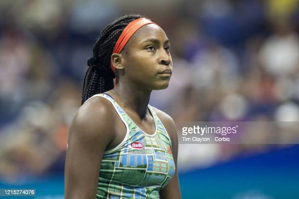 Open Tennis Tournament Day Six Coco Gauff of the United States during her match against Naomi Osaka of Japan in the Women's Singles Round three match...