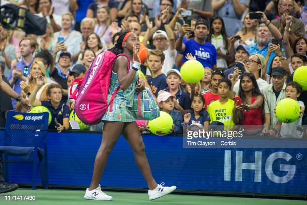Open Tennis Tournament Day Six Coco Gauff of the United States leaves the court after her loss to Naomi Osaka of Japan in the Women's Singles Round...