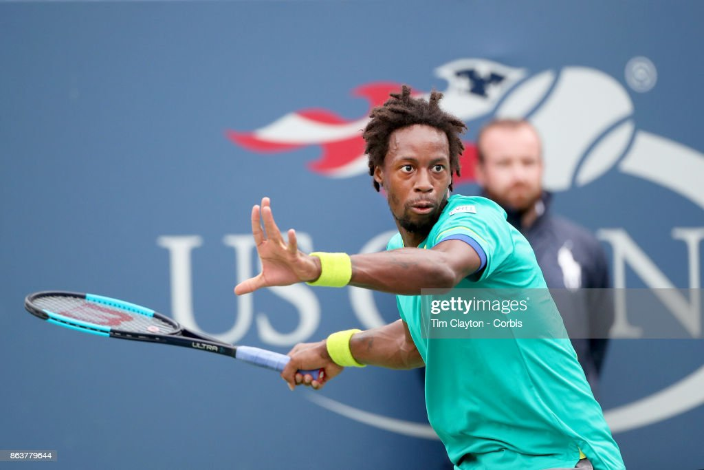 S. Open Tennis Tournament - DAY SIX. Gael Monfils of France in action against David Goffin of Belgium in the Men's Singles round three match at the US Open Tennis Tournament at the USTA Billie Jean King National Tennis Center on September 02, 2017 in Flushing, Queens, New York City. (Photo by Tim Clayton/Corbis via Getty Images)'n