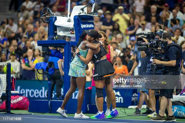 Open Tennis Tournament Day Six Winner Naomi Osaka of Japan and Coco Gauff of the United States embrace after the on court interview after the Women's...
