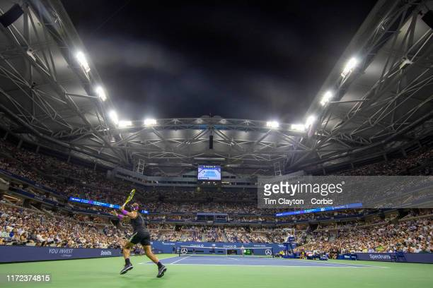 Open Tennis Tournament- Day Ten. A panoramic general view of Rafael Nadal of Spain in action against Diego Schwartzman of Argentina in the Men's...