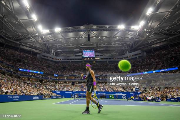 Open Tennis Tournament- Day Ten. A panoramic general view of Rafael Nadal of Spain as a shot from Diego Schwartzman of Argentina is long during the...