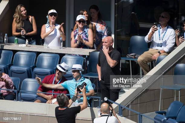 Open Tennis Tournament Day Ten Andre Agassi introduced to the crowd while watching Kei Nishikori of Japan in action against Marin Cilic of Croatia in...