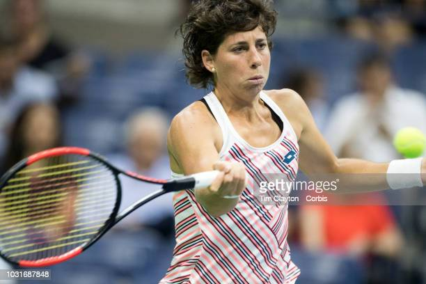 Open Tennis Tournament Day Ten Carla Suarez Navarro of Spain in action against Madison Keys of the United States in the Women's Singles Quarter...