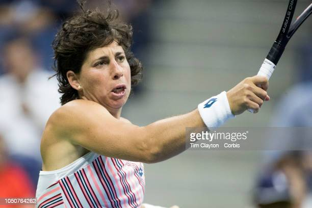 Open Tennis Tournament- Day Ten. Carla Suarez Navarro of Spain in action against Madison Keys of the United States in the Women's Singles Quarter...