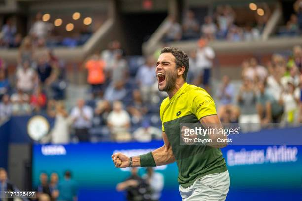 Open Tennis Tournament Day Ten Matteo Berrettini of Italy celebrates his fifth set tie break win against Gael Monfils of France in the Men's Singles...