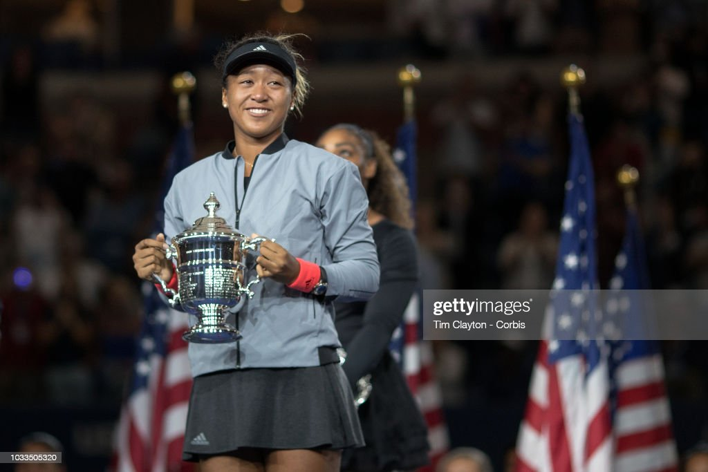 Open Tennis Tournament- Day Thirteen. A Naomi Osaka of Japan with the winners trophy after her win against Serena Williams of the United States in the Women's Singles Final on Arthur Ashe Stadium at the 2018 US Open Tennis Tournament at the USTA Billie Jean King National Tennis Center on September 8th, 2018 in Flushing, Queens, New York City.