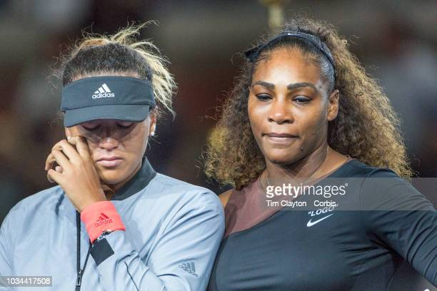 Open Tennis Tournament- Day Thirteen. A tear rolls down the cheek of winner Naomi Osaka of Japan as she is hugged by Serena Williams of the United...