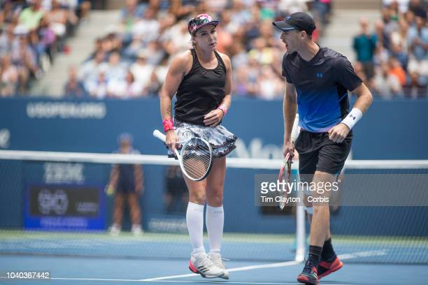 Open Tennis Tournament- Day Thirteen. Bethanie Mattek-Sands of the United States and Jamie Murray of the United Kingdom in action while winning the...