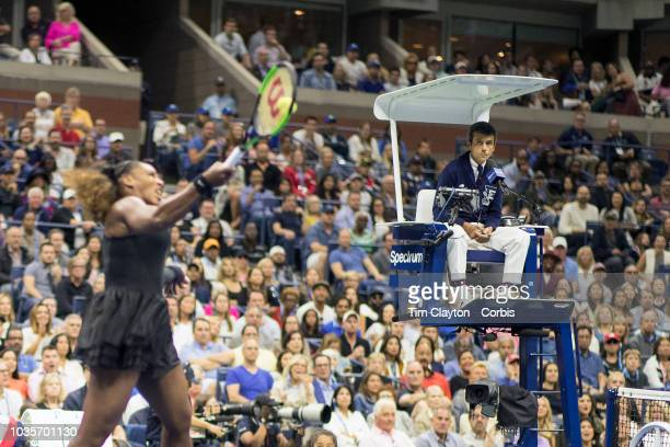 Open Tennis Tournament Day Thirteen Chair umpire Carlos Ramos watching Serena Williams of the United States in action against Naomi Osaka of Japan in...