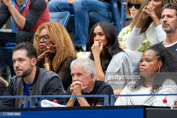 Open Tennis Tournament Day Thirteen Meghan Markle Duchess of Sussex watching Serena Williams of the United States in action against Bianca Andreescu...