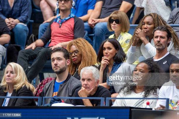 Open Tennis Tournament Day Thirteen Meghan Markle Duchess of Sussex next to Oracene Price mother of Serena Williams in the the team box watching...