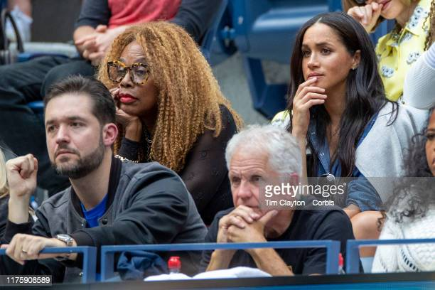 Open Tennis Tournament Day Thirteen Meghan Markle Duchess of Sussex in the the team box of Serena Williams next to Oracene Price mother of Serena...