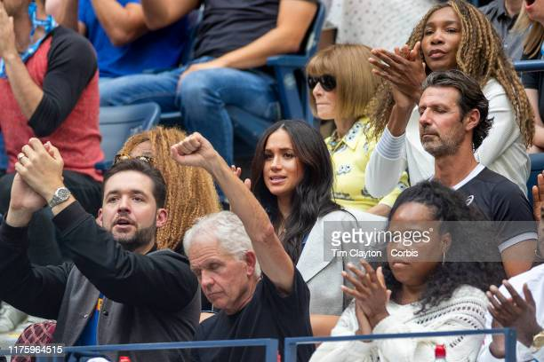 Open Tennis Tournament Day Thirteen Meghan Markle Duchess of Sussex reacts while watching Serena Williams of the United States in action against...