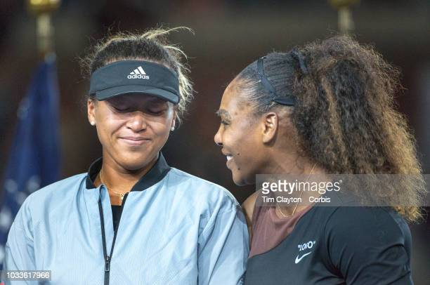 Open Tennis Tournament Day Thirteen Naomi Osaka of Japan with Serena Williams of the United States at the presentations after the Women's Singles...