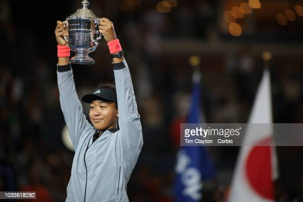 Open Tennis Tournament- Day Thirteen. Naomi Osaka of Japan with the winners trophy after her win against Serena Williams of the United States in the...