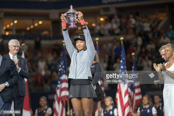 Open Tennis Tournament Day Thirteen Naomi Osaka of Japan with the winners trophy after her win against Serena Williams of the United States in the...