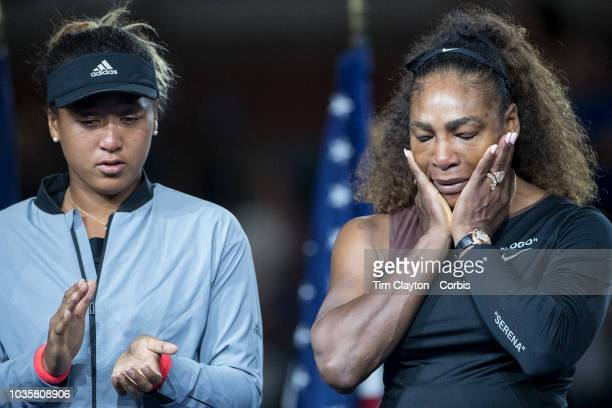 Open Tennis Tournament- Day Thirteen. Serena Williams of the United States at the trophy presentations after her controversial loss to Naomi Osaka, ,...