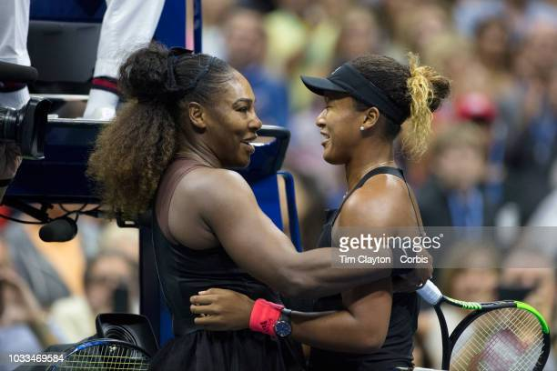 Open Tennis Tournament Day Thirteen Serena Williams of the United States congratulates winner Naomi Osaka of Japan after the Women's Singles Final on...
