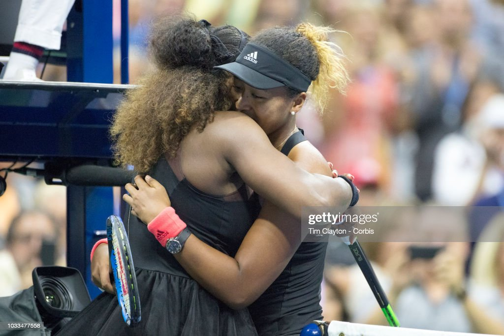 Open Tennis Tournament- Day Thirteen. Serena Williams of the United States congratulates winner Naomi Osaka of Japan after the Women's Singles Final on Arthur Ashe Stadium at the 2018 US Open Tennis Tournament at the USTA Billie Jean King National Tennis Center on September 8th, 2018 in Flushing, Queens, New York City.