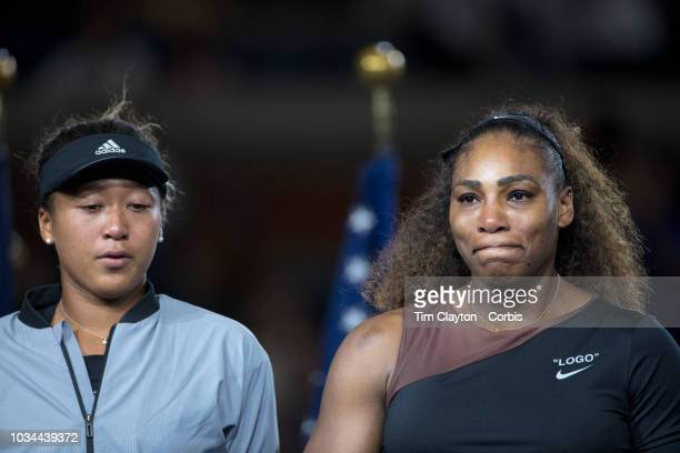 Open Tennis Tournament Day Thirteen Serena Williams of the United States during her on court television interview at the trophy presentations after...
