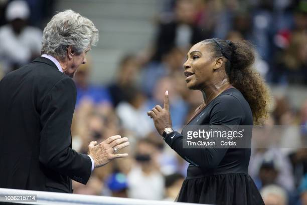 Open Tennis Tournament Day Thirteen Serena Williams of the United States argues with tournament referee Brian Earley during her match against Naomi...