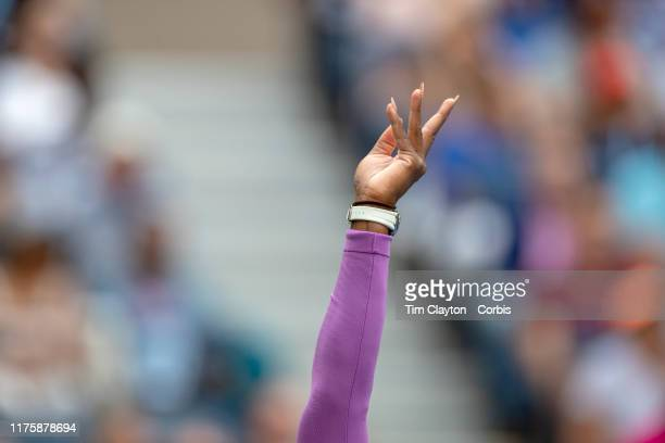 Open Tennis Tournament Day Thirteen Serena Williams of the United States serving against Bianca Andreescu of Canada in the Women's Singles Final on...