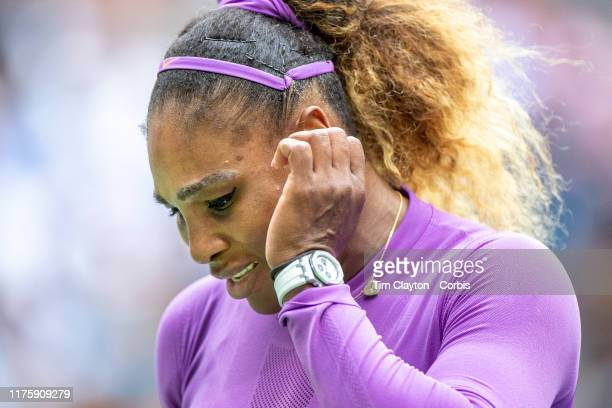 Open Tennis Tournament Day Thirteen Serena Williams of the United States reacts during her loss against Bianca Andreescu of Canada in the Women's...