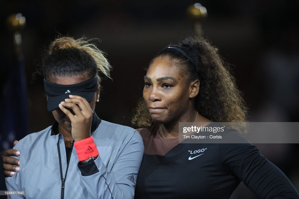 Open Tennis Tournament- Day Thirteen. Winner Naomi Osaka of Japan is hugged by Serena Williams of the United States at the presentations after the Women's Singles Final on Arthur Ashe Stadium at the 2018 US Open Tennis Tournament at the USTA Billie Jean King National Tennis Center on September 8th, 2018 in Flushing, Queens, New York City.