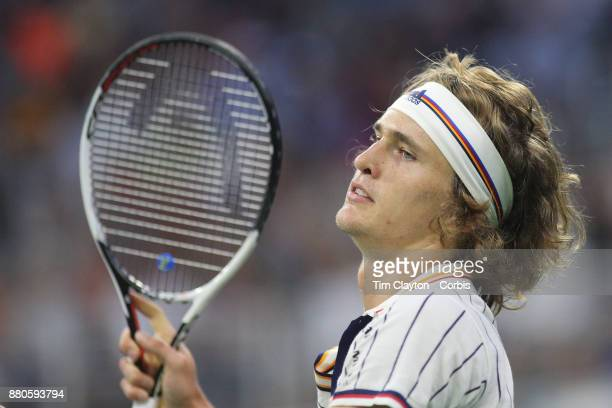 S Open Tennis Tournament DAY THREE Alexander Zverev of Germany in action against Borna Coric of Croatia during the Men'u2019s Singles round two match...