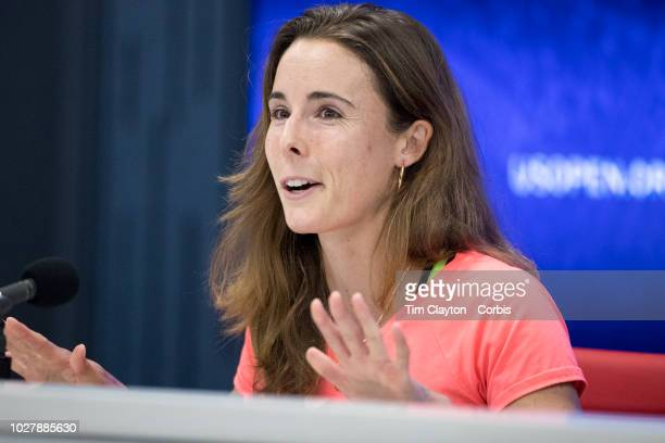 Open Tennis Tournament Day Three Alize Cornet of France at her press conference regarding her shirt change at the 2018 US Open Tennis Tournament at...