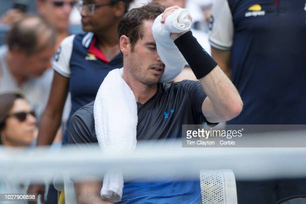 Open Tennis Tournament Day Three Andy Murray of the United Kingdom keeping cool with an ice pack between games against Fernando Verdasco of Spain in...