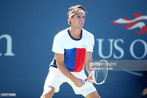 S Open Tennis Tournament DAY THREE Dominic Thiem of Austria in action against Alex de Minaurof Australia during the Men's Singles round one match at...
