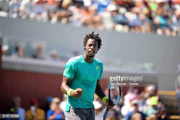 S Open Tennis Tournament DAY THREE Gael Monfils of France in action against Jeremy Chardy of France during the Men's Singles round one match on court...