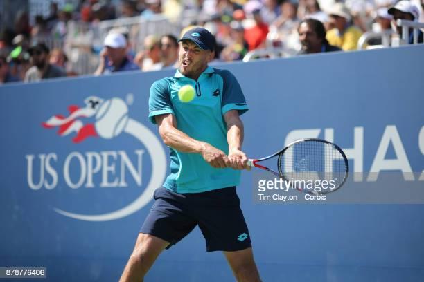 S Open Tennis Tournament DAY THREE John Millmanof Australia in action against Nick Kyrgios of Australia during the Men'u2019s Singles round one...