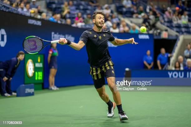 Open Tennis Tournament Day Three Juan Ignacio Londero of Argentina in action against Novak Djokovic of Serbia in the Men's Singles Round Two match on...