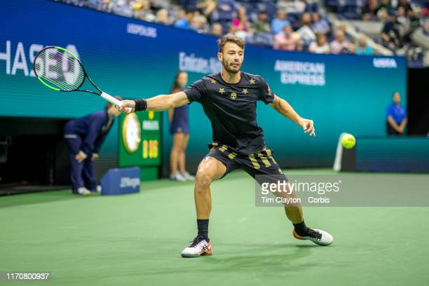 Open Tennis Tournament Day Three Juan Ignacio Londero of Argentina in action against Novak Djokovic of Serbia in the Men's Singles Round Two match on...