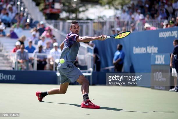 S Open Tennis Tournament DAY THREE Nick Kyrgios of Australia in action against John Millmanof Australia during the Men'u2019s Singles round one...