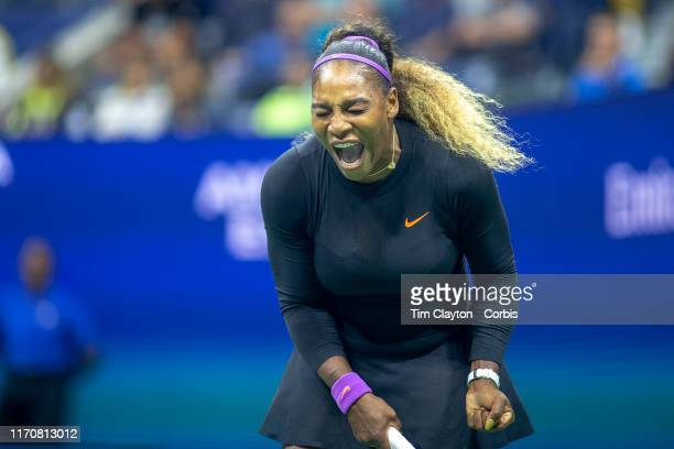 Open Tennis Tournament- Day Three. Serena Williams of the United States reacts during her match against Catherine McNally of the United States in the...