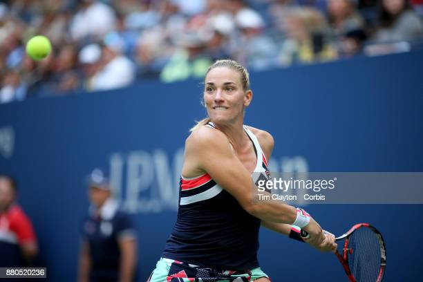 S Open Tennis Tournament DAY THREE Timea Babos of Hungary in action during her match against Maria Sharapova of Russia during the Womenu2019s Singles...