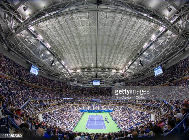 Open Tennis Tournament- Day Twelve. A panoramic view of Rafael Nadal of Spain in action against Matteo Berrettini of Italy in the Men's Singles...