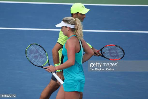 S Open Tennis Tournament DAY TWELVE CoCo Vandeweghe of the United States and Horia Tecau of Romania in action against Martina Hingis of Switzerland...