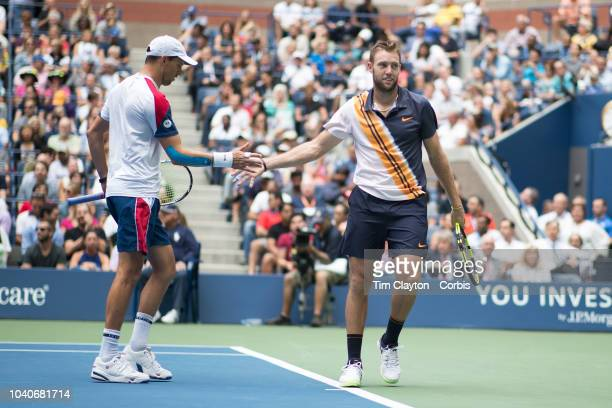 Open Tennis Tournament Day Twelve Jack Sock and Mike Bryan of the United States in action while winning the Men's Doubles Final against Lukasz Kubot...