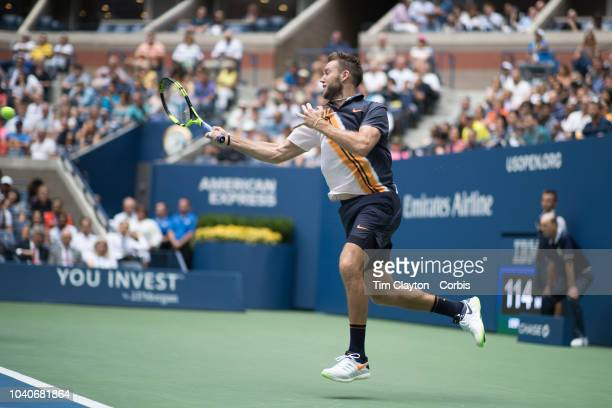 Open Tennis Tournament Day Twelve Jack Sock in action with Mike Bryan of the United States while winning the Men's Doubles Final against Lukasz Kubot...