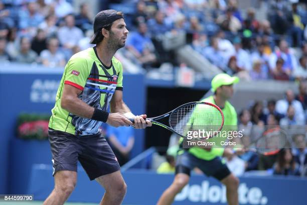 S Open Tennis Tournament DAY TWELVE JeanJulien Rojer of The Netherlands and Horia Tecau of Romania in action while winning the Men's Doubles Final at...