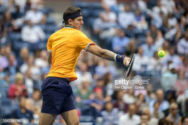 Open Tennis Tournament Day Twelve Juan Martin Del Potro of Argentina in action against Rafael Nadal of Spain in the Men's Singles Semi Final match on...