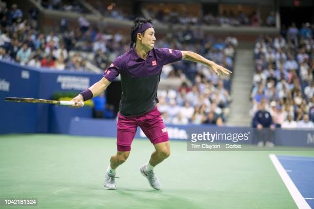 Open Tennis Tournament Day Twelve Kei Nishikori of Japan in action against Novak Djokovic of Serbia in the Men's Singles Semi Final match on Arthur...