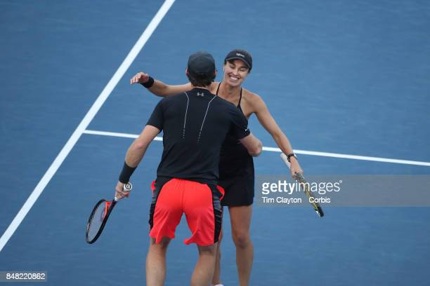 S Open Tennis Tournament DAY TWELVE Martina Hingis of Switzerland and Jamie Murray of Great Britain celebrate victory against CoCo Vandeweghe of the...