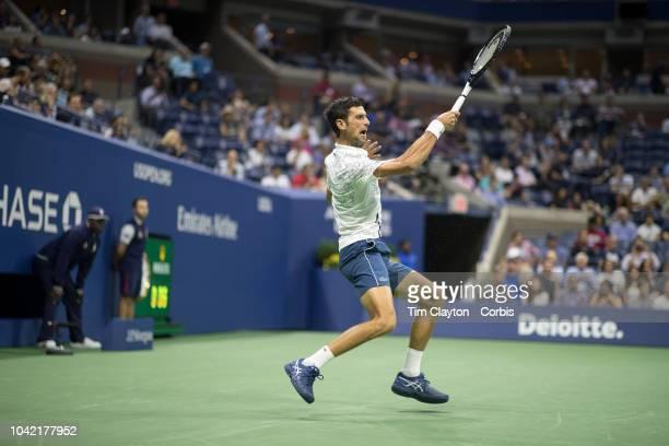 Open Tennis Tournament Day Twelve Novak Djokovic of Serbia in action against Kei Nishikori of Japan in the Men's Singles Semi Final match on Arthur...
